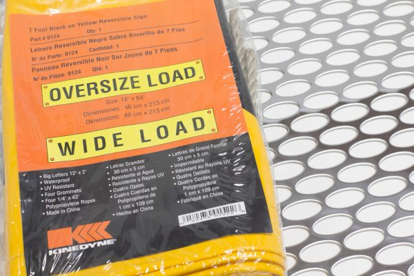 "BANNER- WIDE LOAD/ OVERSIZE LOAD W/ 84"" ROPE"