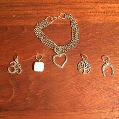 Three chain stainless steel boho charm bracelet