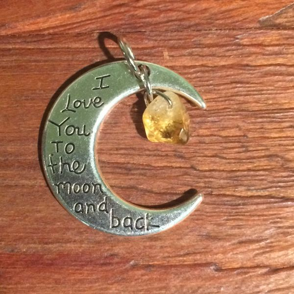 Love you to the moon and back charm with Citrine stainless steel boho necklace