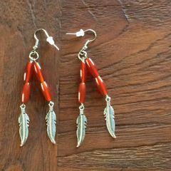 Carnelian dangle with feather charm boho earrings
