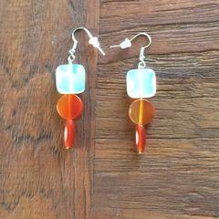 Opalite and Carnelian earrings