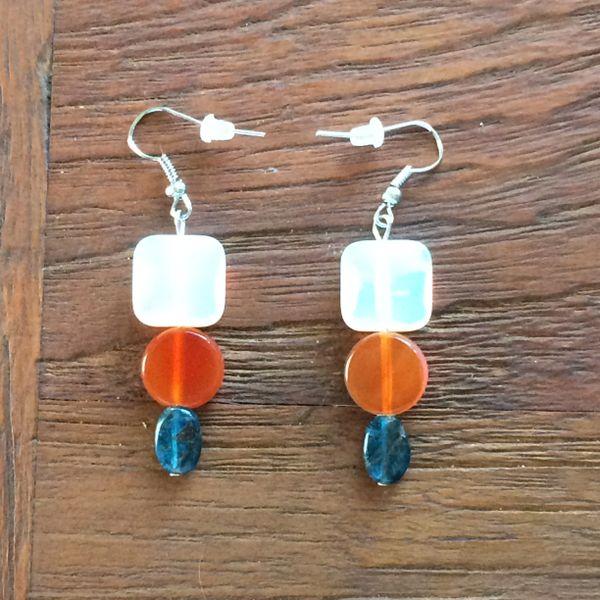 Opalite, Carnelian and Apatite earrings