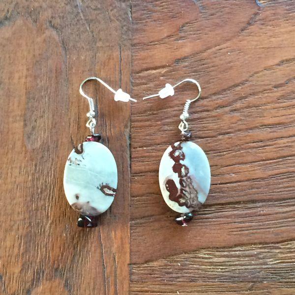 Boho Picture Jasper and Garnet earrings