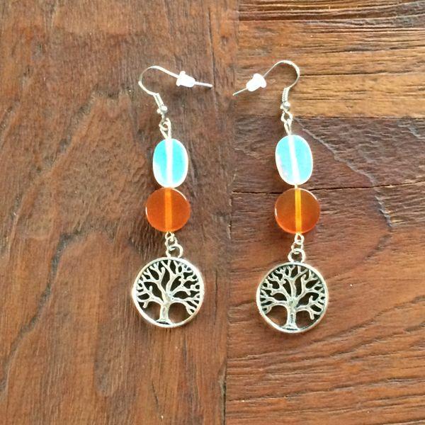 Opalite and Carnelian with Tree of Life charm