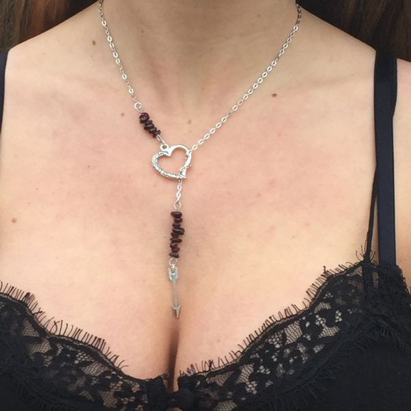 Boho Garnet and Heart Valentine Necklace