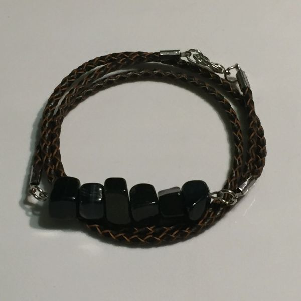Mens, women's, unisex or couples braided leather Blue Tigers Eye wrap bracelet/necklace