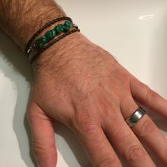 Men's, women's, unisex or couples braided leather Turquoise wrap bracelet/necklace