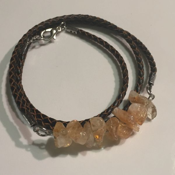 Men's, women's, unisex or couples braided leather Citrine wrap bracelet/necklace