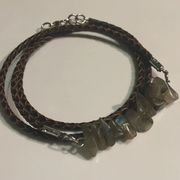 Men's, women's, unisex or couples braided leather Labradorite wrap bracelet/necklace