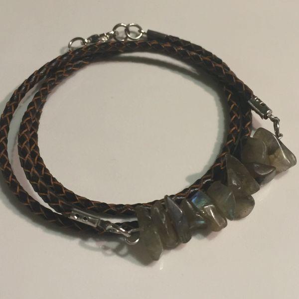 Men's, women's, unisex or couples braided leather Labradorite wrap bracelet/necklace