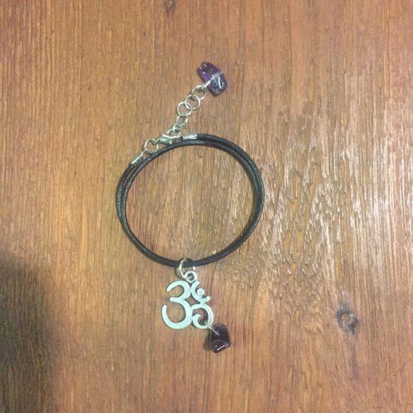 Amethyst with Om charm boho wrap bracelet