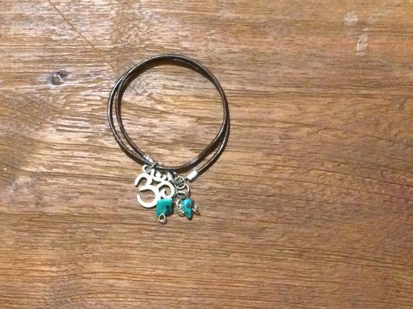 Turquoise Boho bracelet with Om charm