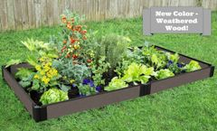 "Weathered Wood Raised Garden Bed with Snap-Lock Brackets 4' x 8' x 5.5"" – 1"" profile"
