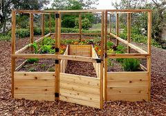 OLT Walk-in 8'x12' Cedar Raised Bed Garden Kit with Deer Fencing
