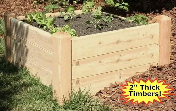 "2'x4'-16"" high Cedar Raised Garden Bed Kit by Marleywood"