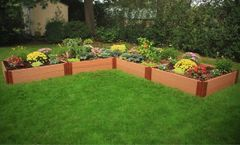 Frame It All Composite Raised Garden 12ft. X 12ft. X 11in. L-Shaped (2 inch profile) - Classic Sienna