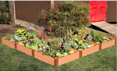 Frame It All Composite Raised Garden 12ft. X 12ft. X 11in. L-Shaped (1 inch profile) - Sienna Classic