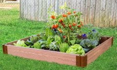 """Frame It All Raised Garden Bed 4' x 4' x 5.5"""" – 1"""" profile - Classic Sienna"""