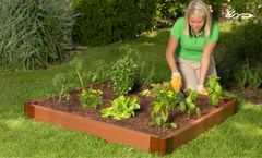 """Frame It All Raised Garden Bed 4' x 4' x 5.5"""" – 2"""" profile - Classic Sienna"""