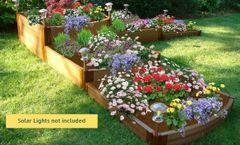"Frame It All Raised Garden Bed Split Waterfall Tri-Level 12' x 12' x 22"" – 1"" profile - Classic Sienna"