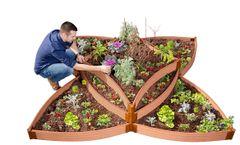 """Frame It All Raised Garden Bed Versailles Sunburst 8' x 8' x 16.5"""" – 1"""" profile - Classic Sienna"""