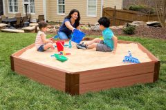 Frame It All Two Inch Series 7ft. x 8ft. x 11 in. Composite Hexagon Sandbox Kit with Cover