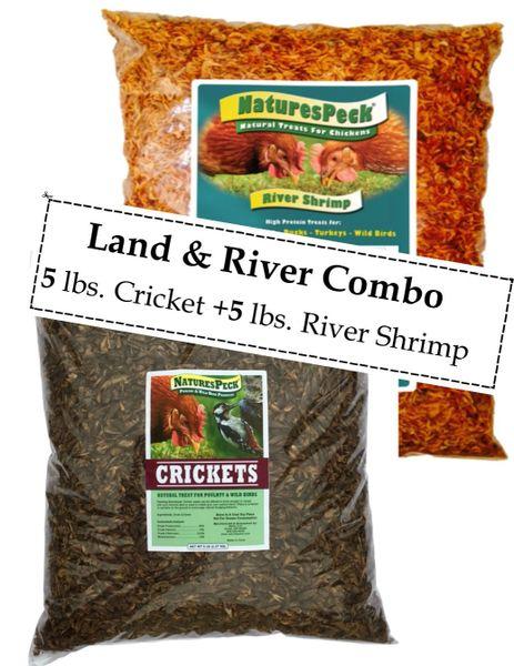 LAND & RIVER COMBO 10 LBS / CRICKETS-5 LB + RIVER SHRIMP-5 LB