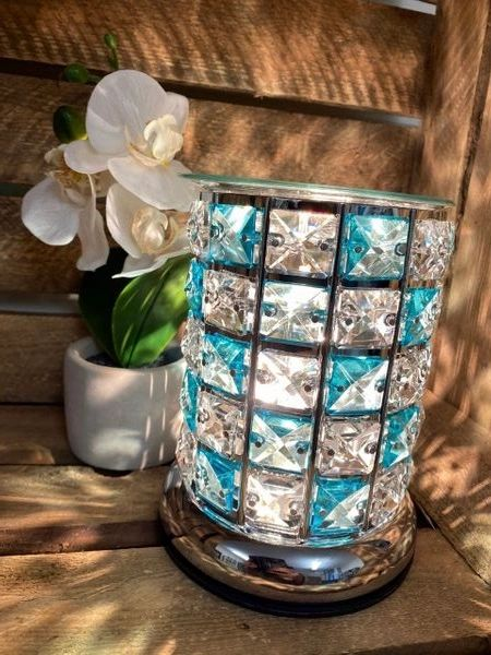 BLUE AND CLEAR CRYSTAL TOUCH BURNER