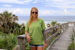 Ladies Green V-Neck Polo