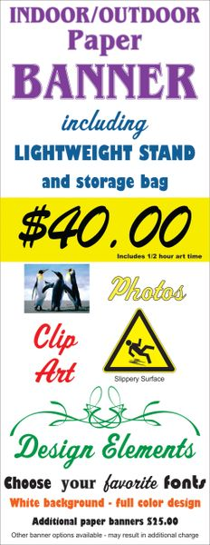 Economy Paper Banner and Stand with carry bag