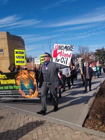 Dan Whitfield at Anti War Protest in Fayetteville Arkansas