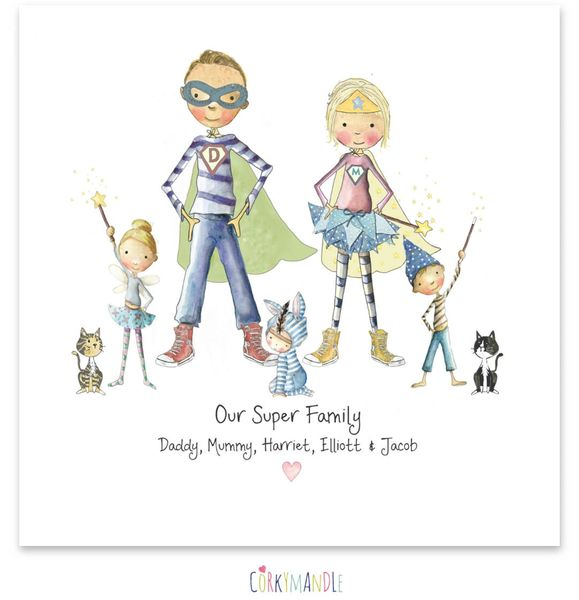 Super Hero Print Gifts Personalised Family Prints