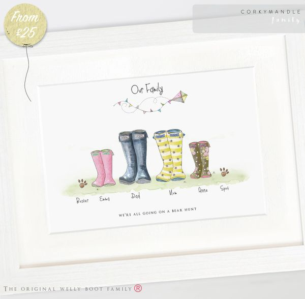 Personalised Family Print  Wellies Boots Family Print Gift personalised family