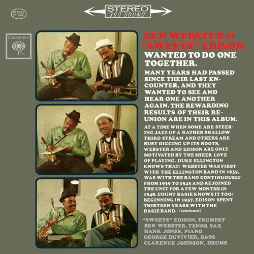BEN WEBSTER & SWEETS EDISON LIMITED EDITION 180G 45RPM 2LP OUT OF PRINT