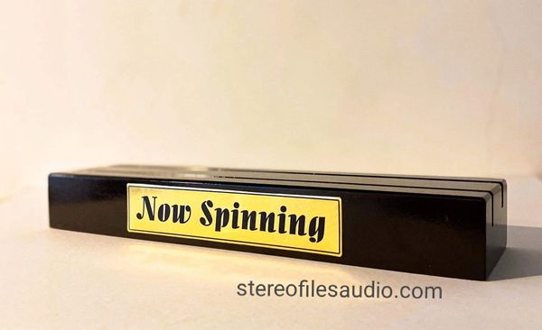 NOW SPINNING VINYL RECORD STAND REAL WOOD