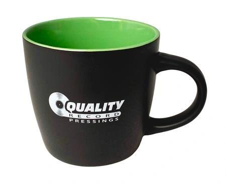 QUALITY RECORD PRESSINGS BLACK LIME GREEN COFFEE MUG