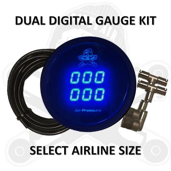 """• Gauge Kit - 2"""" DUAL Digital Air Pressure Gauge Kit"""