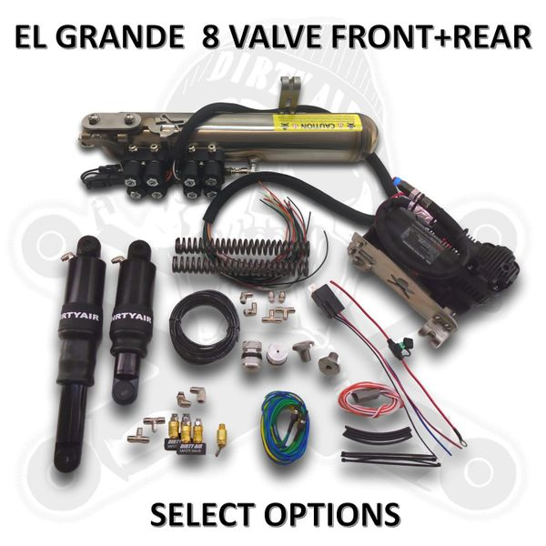 DIRTY AIR El Grande 8-valve Front and Rear Complete Fast-Up Tank System 8-valve