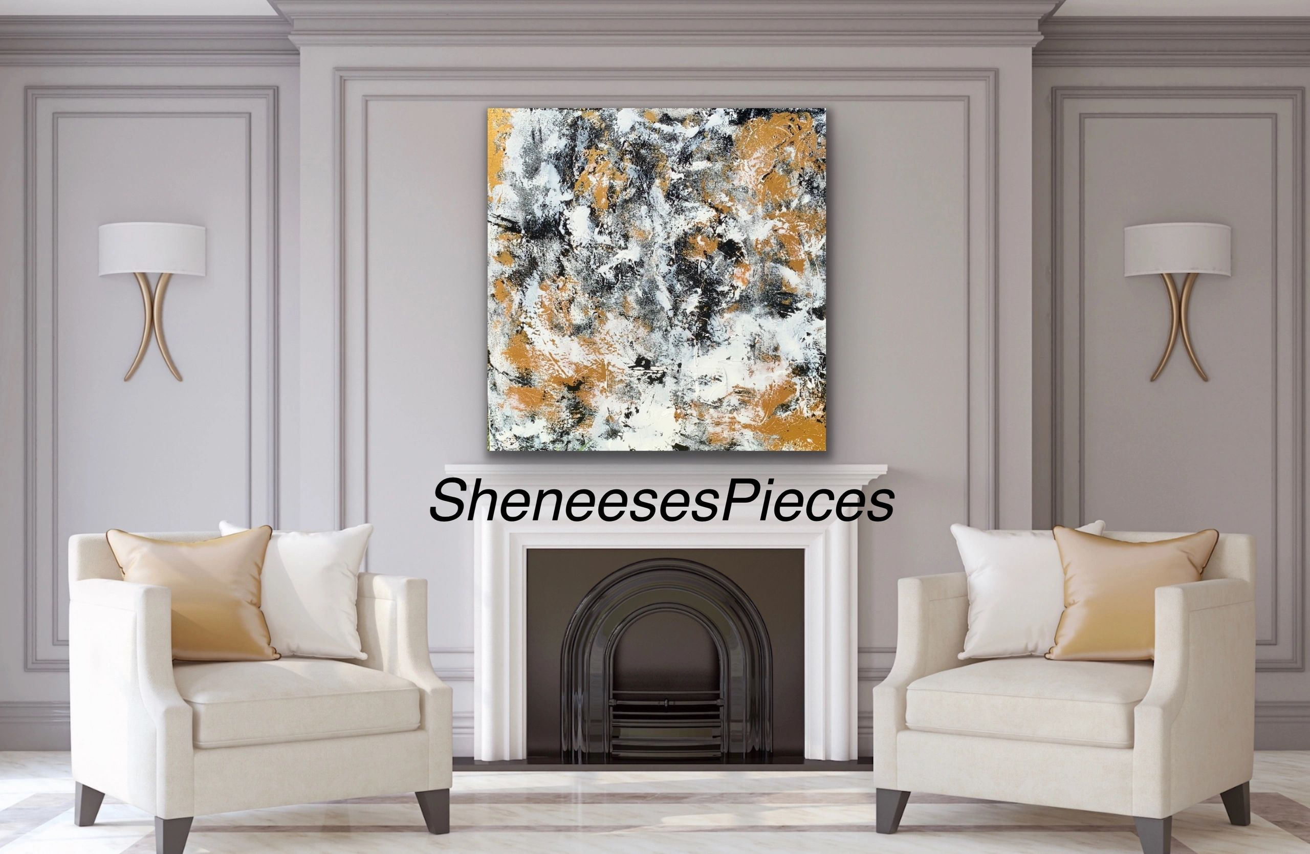 "Wealth is a beautiful 48x48"" size gallery style canvas original. Black/white and metallic gold."