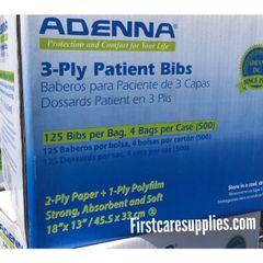 ADENNA® 3-Ply Patient Bibs, 500 Bibs per Case