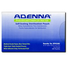 "Adenna Self-Sealing Sterilization Pouches 5 1/4"" X 8 1/2"" 200 per box"