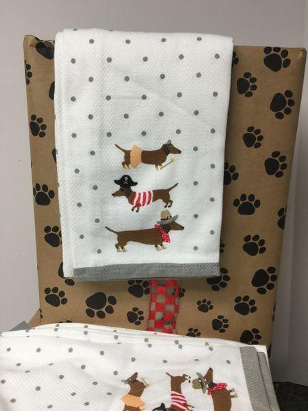 Whimsical Dachshund Tea Towel Set B