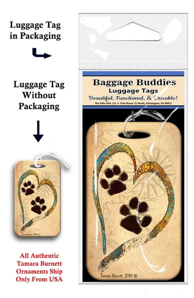 Doxie Paw Print Baggage Buddy