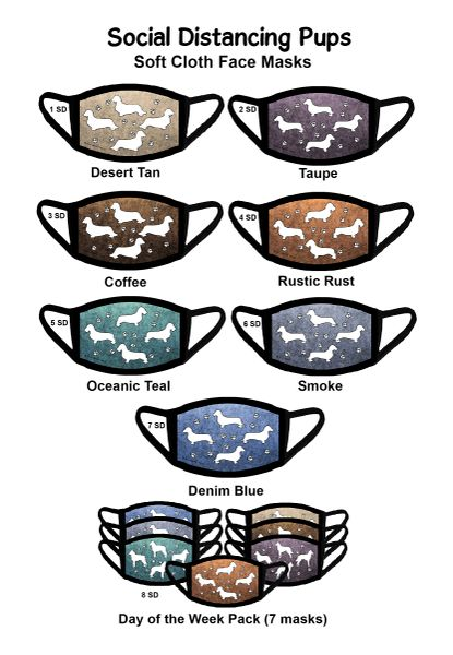 Doxie Social Distancing Masks 7 Pack