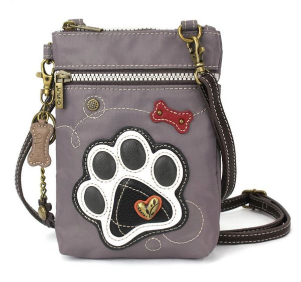 Chala Cell Phone XBody Bag - Grey Paw Print
