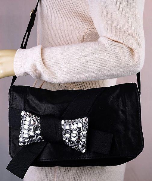 557e03b17 Chloe Black Rhinestone Bow Crossbody   Andre Dupree Luxury Designer ...