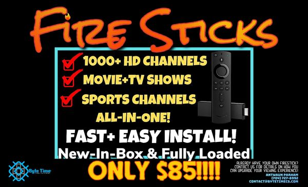 Unlocked Fire Sticks Fully Loaded with Movies and Shows & Live TV! Includes Warranty & Technical Support
