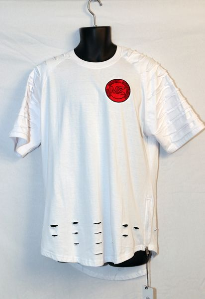 M3 White Short Sleeve Razored w/ Red Logo