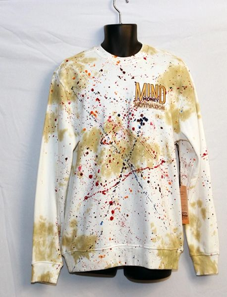 M3 White And Gold Paint Splatter Sweat Shirt