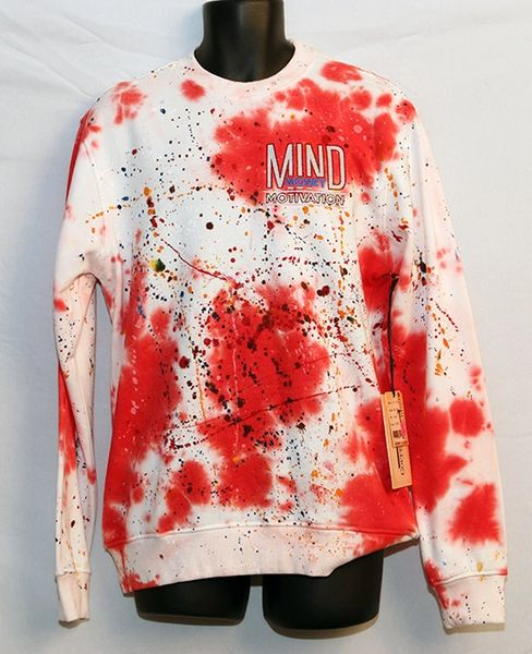 M3 Red And White Paint Splattered Sweat Shirt